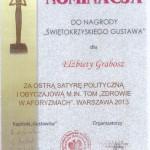 """Nominacja do Nagrody """"Świętokrzyskiego Gustawa"""""""