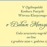 """Wyniki V Ogólnopolskiego Konkursu Poetyckiego Wiersza Klasycznego o """"Buławę Marszałka"""""""